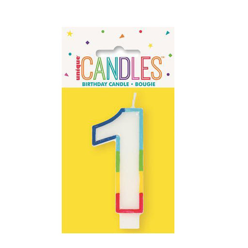 number 1 candle rainbow