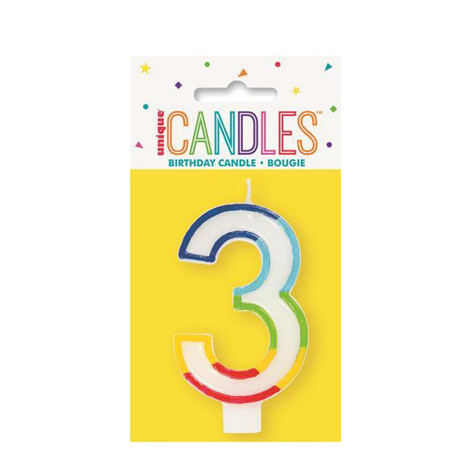 number 3 candle rainbow