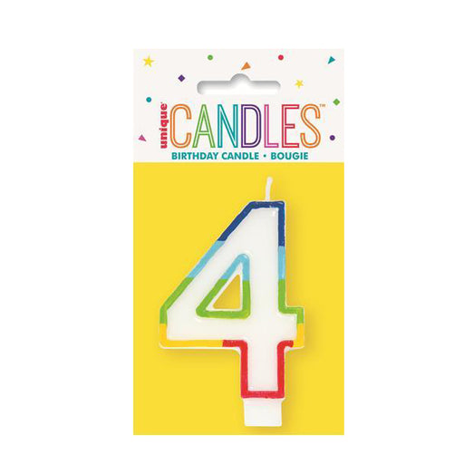 number 4 candle rainbow