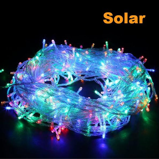 200 solar power LED Icicle String Lights - Multi Colour