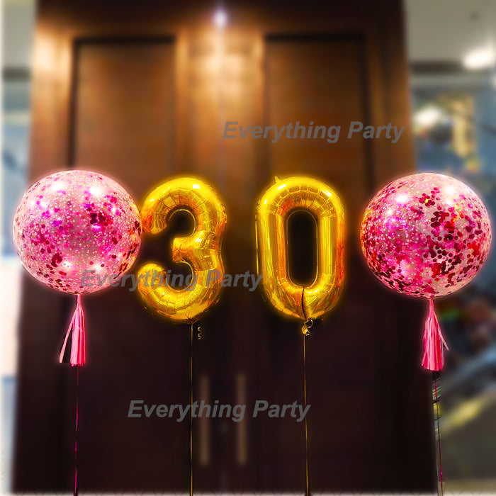 3ftconfetti Balloonconfetti Balloons34 Jumbo Number Gold Everything Party Shop Rose Pink Helium Balloons