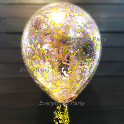 Jumbo latex confetti helium balloon with rose gold confetti