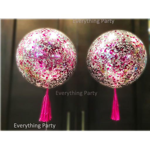 3ft 90cm jumbo pink confetti balloon with pink tassel