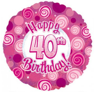 40th birthday foil balloon pink