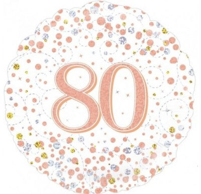 80th birthday helium balloon, 80th birthday Rose gold balloon