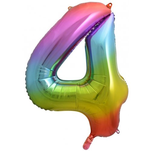 Rainbow Jumbo Number 4 Helium Foil balloon