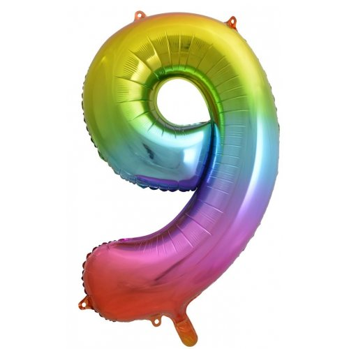 Rainbow Jumbo Number 9 Helium Foil balloon