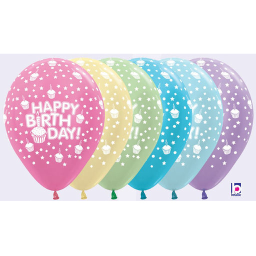 happy birthday pastel colour balloon