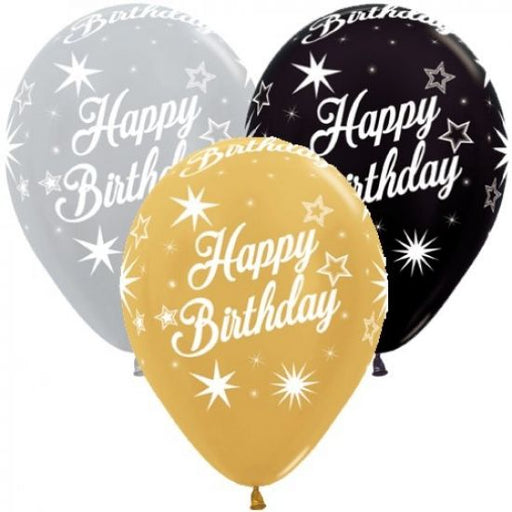 "11"" Qualatex Happy Birthday Sparkles Assorted Colour Latex Balloon,Balloon - Everything Party"