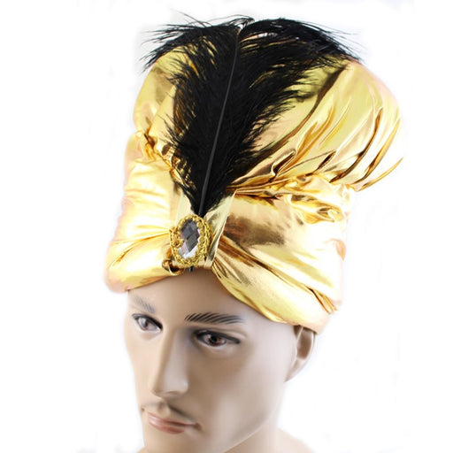 gold turban hat