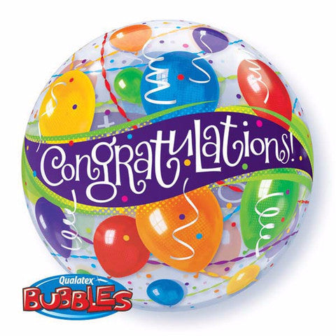 congratulation Balloon, qualatex birthday bubbles balloon