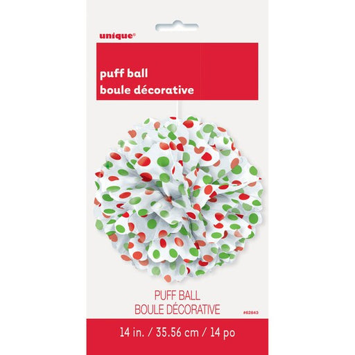 christmas decorative ball, red green dots puff ball