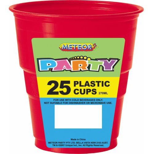 25pk red plastic cups