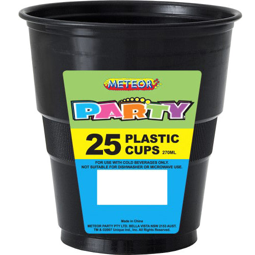 25pk black plastic cups