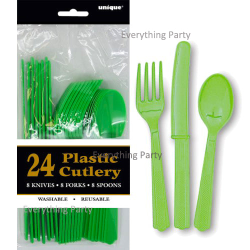 Lime green plastic cutlery