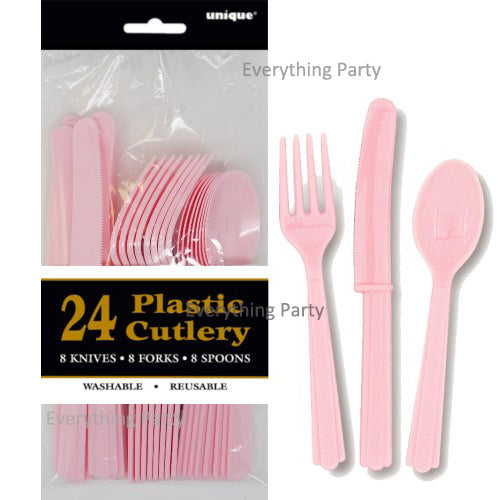 Light pink plastic cutlery