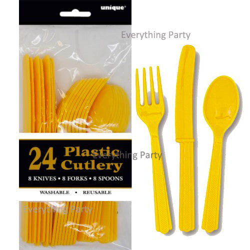 yellow plastic cutlery