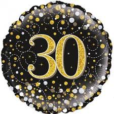 gold silver dots 30th birthday balloon