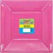 hot pink square plastic plates