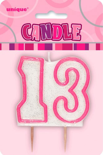 13th Birthday Glitter Candle (Pink, Blue available)