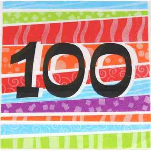 100th birthday napkin, 100 days party napkin