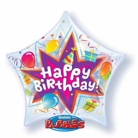 qualatex birthday bubbles balloon, qualatex star shape birthday balloon