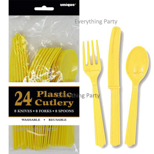 soft yellow plastic cutlery