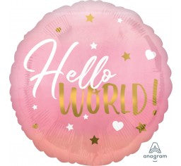 baby girl balloon, baby shower balloon, hello world balloon
