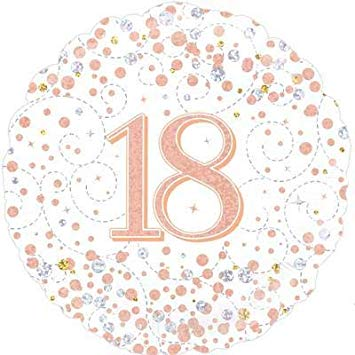 18th Birthday Holographic Rose Gold Foil Balloon