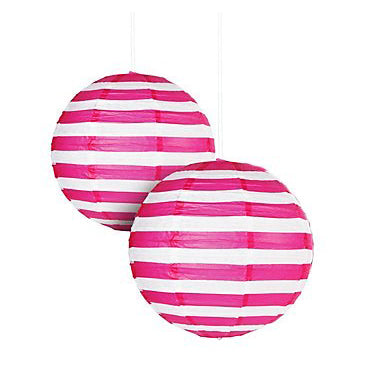stripe paper lantern hot pink