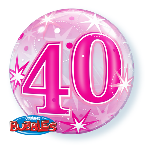 40th pink helium balloon, qualatex 40th birthday pink bubbles balloon