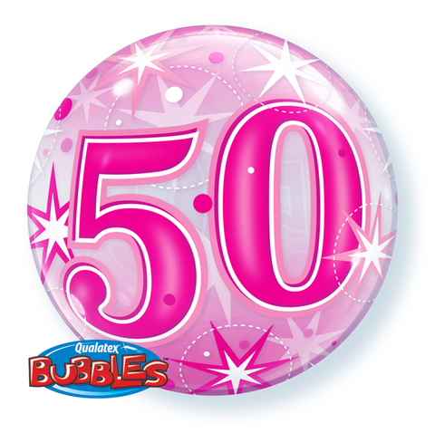50th pink helium balloon, qualatex 50th birthday pink bubbles balloon