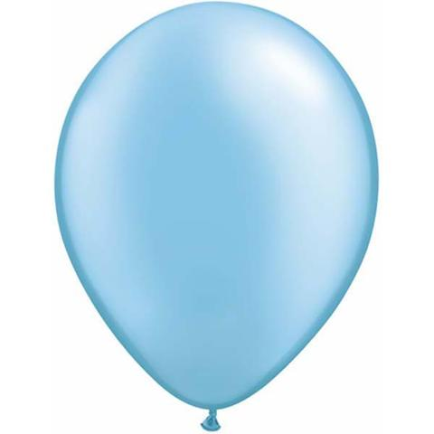 "11"" Qualatex Plain Latex Balloon - Round Pearl Azure Blue"