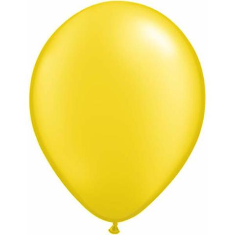 "11"" Qualatex Plain Latex Balloon - Round Pearl Citrine Yellow"