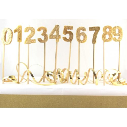 Gold Glitter numeral birthday candle