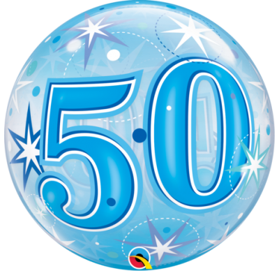50th blue helium balloon, qualatex 50th birthday blue bubbles balloon