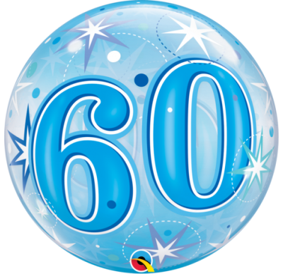 60th blue helium balloon, qualatex 60th birthday blue bubbles balloon