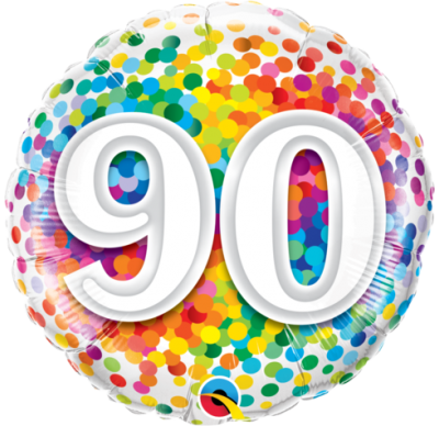 90th birthday rainbow balloon