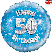 50th birthday holographic balloon