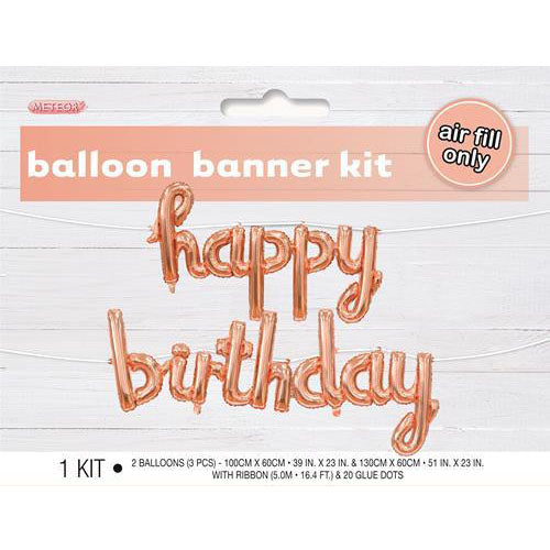 rose gold happy birthday foil balloon banner