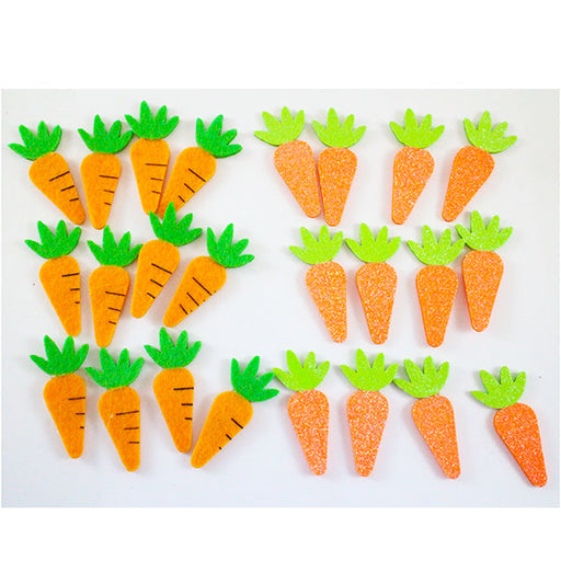 12pk Easter Craft Glitter Foam Stickers - Carrot