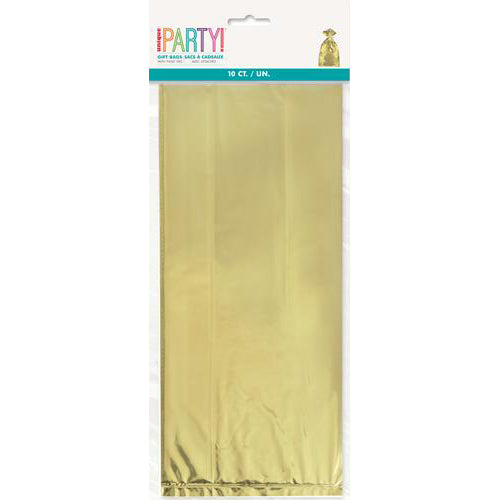 metallic gold cello bags, metallic gold party bags