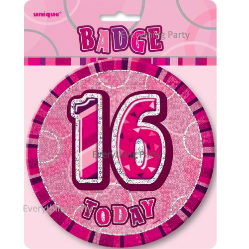 16th birthday jumbo badge