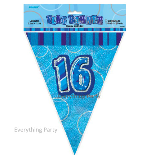 16th Birthday flag banner, birthday decoration