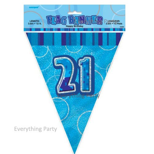 21st Birthday flag banner, birthday decoration