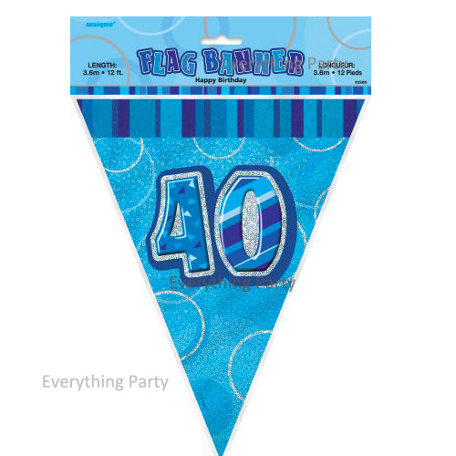 40th Birthday Flag Banner Blue Pink Black