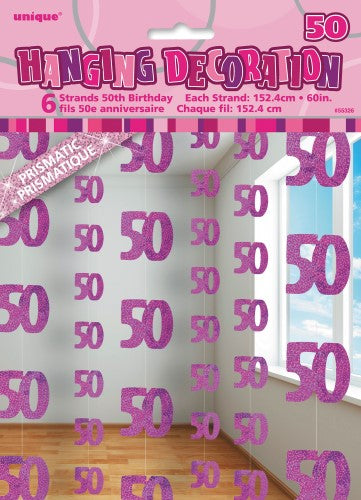 50th Birthday Hanging Decorations Blue Pink Black