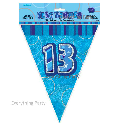 13th Birthday flag banner, birthday decoration