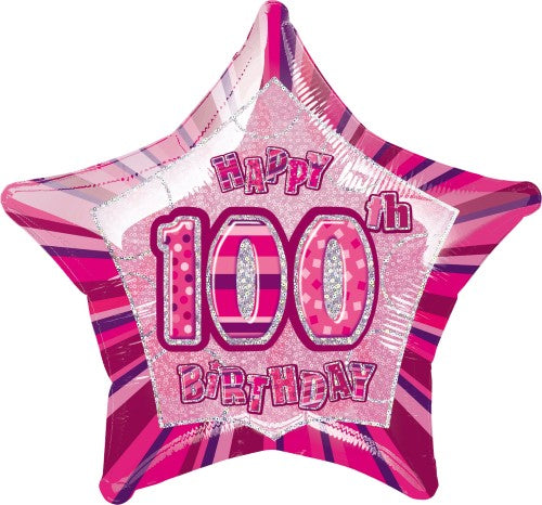 "20"" Happy 100th Birthday Foil Balloon Star Shape - (Blue, Pink, Black)"