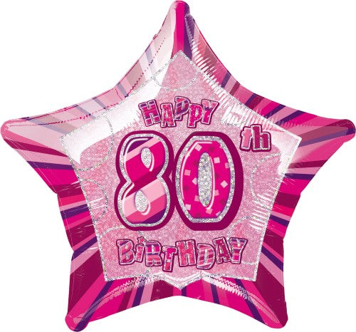 "20"" Happy 80th Birthday Foil Balloon Star Shape - (Blue, Pink, Black),Balloon - Everything Party"